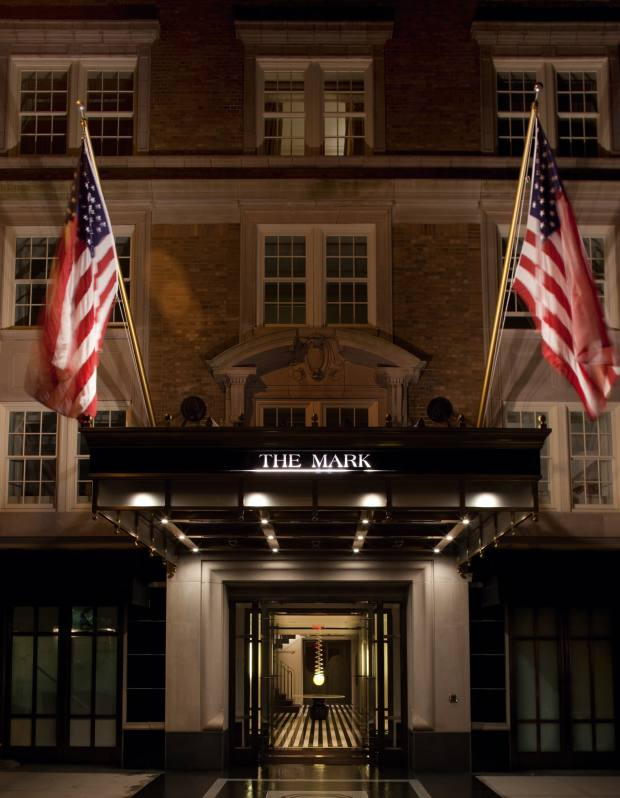 The entrance to The Mark Hotel on the Upper East Side.