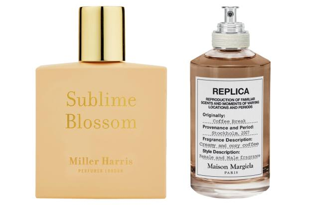 Miller Harris Sublime Blossom, £75 (50ml). Maison Margiela Replica Coffee Break, £96 (100ml), selfridges.com