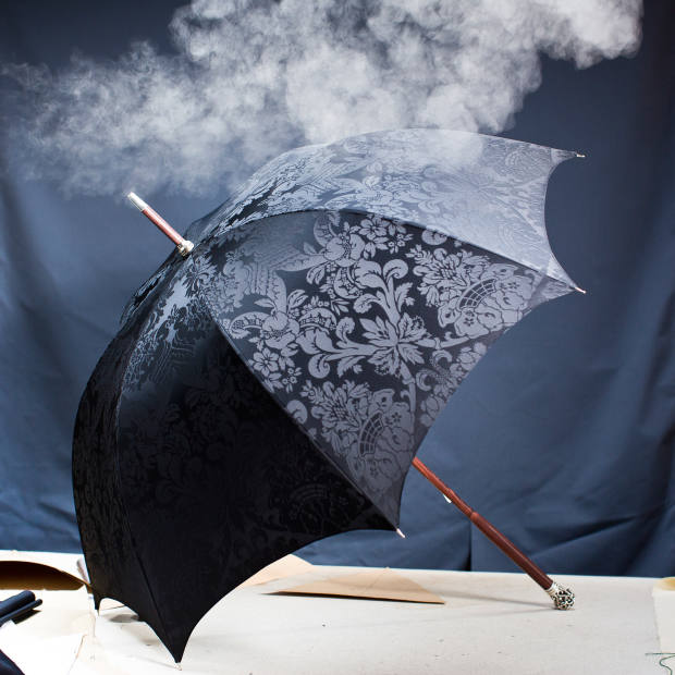 Damasked silk men's umbrella with a foldable handle, bespoke from €3,900 (€6,900 with silver handle)