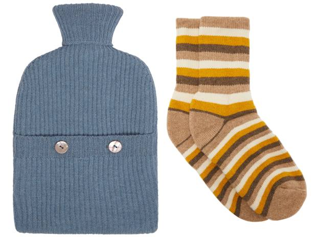 From left: Brora hot-water bottle, £135. The Elder Statesman socks, £275, matchesfashion.com