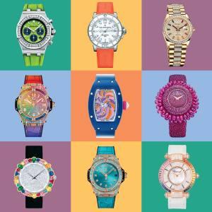 Top row, left to right: Royal Oak Offshore, Audemars Piguet, POA; Patravi ScubaTec Lady, Carl F Bucherer, £3,700; Day-Date 36, Rolex, £95,800. Middle row: Big Bang One Click Rainbow King, Hublot, £67,900; Cupcake from the Bonbon collection, Richard Mille, £137,040; Baby Grappoli SO4, De Grisogono, £71,300. Bottom row: La D de Dior Cocotte, Dior, POA; Big Bang One Click Paraíba King Gold, Hublot, £192,000; Imperiale, Chopard, POA