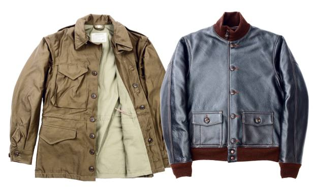 sateen-cotton M-1943 jacket, £565; deerskin A-1 jacket, £1,975