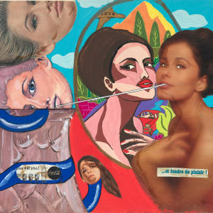 Et Fondre de Plaisir! by Evelyne Axell – a mixed-media collage from 1964