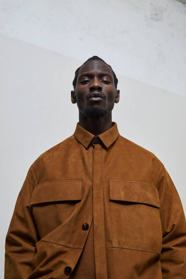 Nubuck-leather overshirt with patch pockets and flaps
