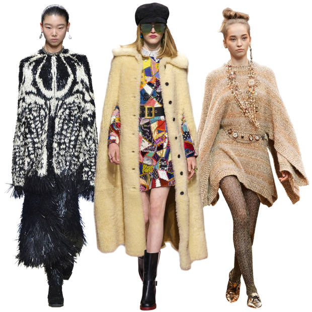 From left: Alexander McQueen sequin cape, price on request. Dior merinillo shearling cape, £4,500. Chanel knitted viscose-mix poncho, £3,950