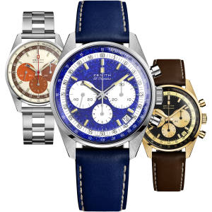 "From left: Zenith x Phillips gold El Primero, one of 20, about £15,760. Platinum and lapis lazuli El Primero, edition of one, to be auctioned. Steel El Primero with ""ladder"" bracelet, one of 49, about £7,840"