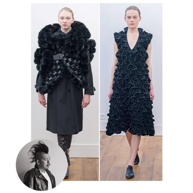 From left: Noir Kei Ninomiya faux fur and polyester coat, £3,300, and cotton/polyester dress, £1,420; and polyester dress, £2,275