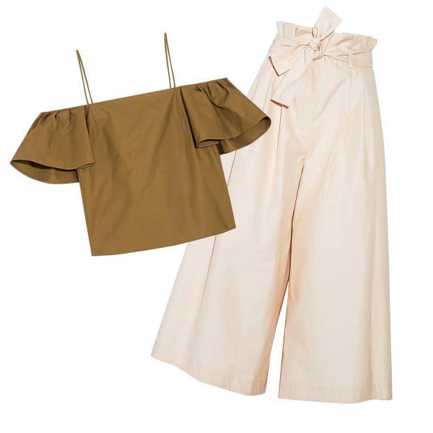 Fendi cotton top, £500, and cotton culottes, £1,000