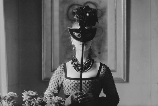 Masked model in Lola dress by Mark Shaw (1958)