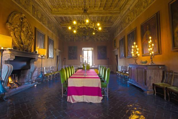 The grand dining room at Castello Ruspoli