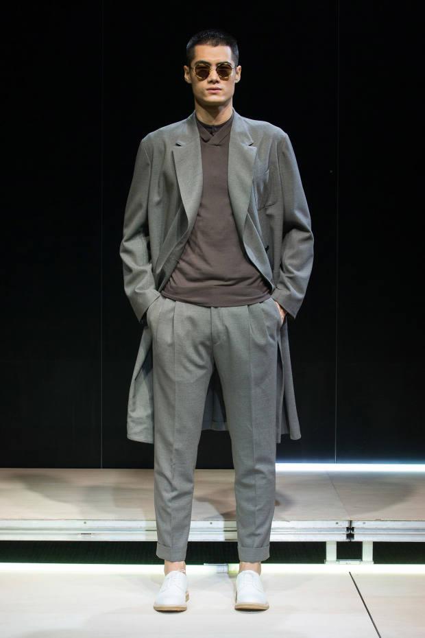 Cerruti wool coat, £1,800, and matching trousers, £220
