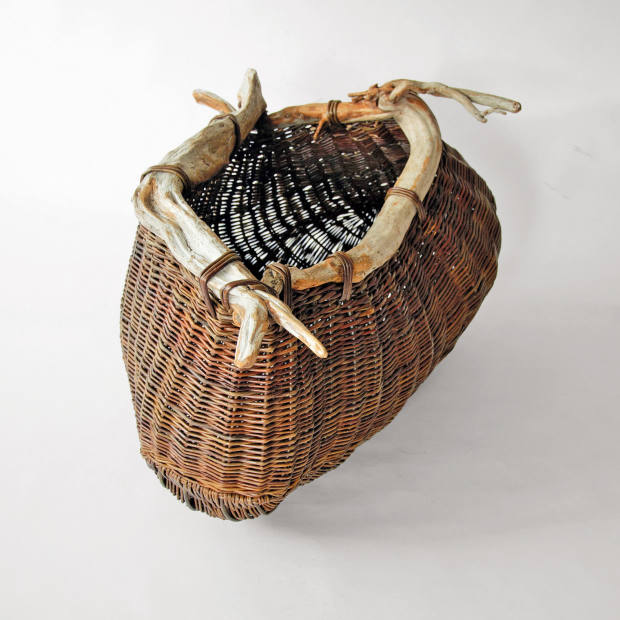 Joe Hogan Driftwood Pouch with Embedded Stone, from £600 for artistic baskets
