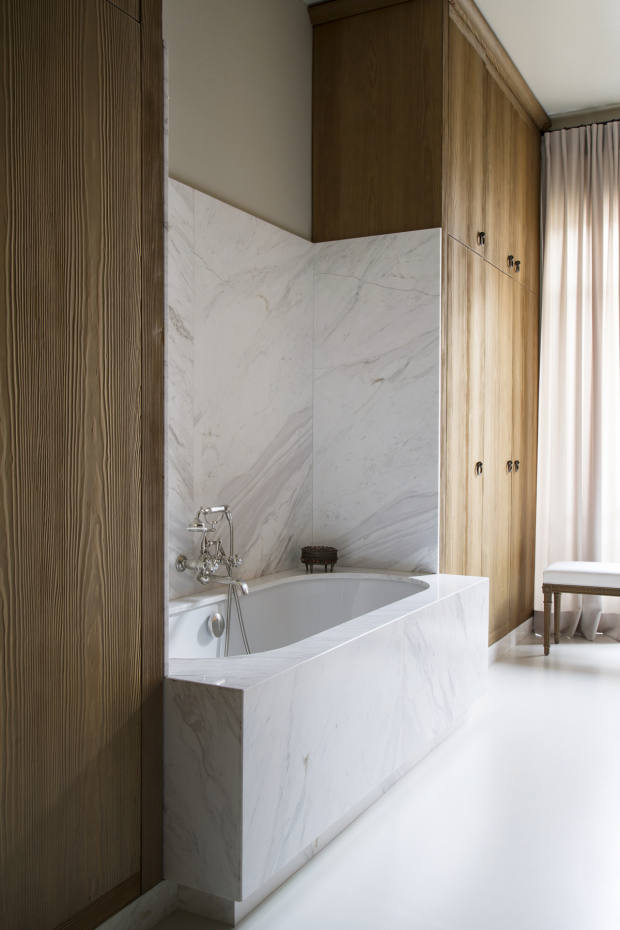 Wood adds warmth to the pale features in Paris