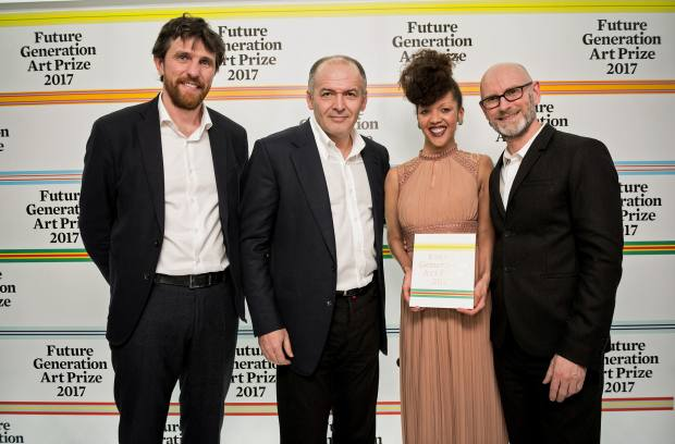 PinchukArtCentre artistic director Bjorn Geldhof, Future Generation Art Prize founder Victor Pinchuk, Special Prize winner Phoebe Boswell and jury member Nicholas Baume