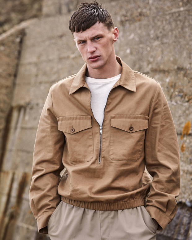 MHL by Margaret Howell cotton jacket, £265. Margaret Howell cotton T-shirt, £95. Ermenegildo Zegna cotton and linen trousers, £1,060