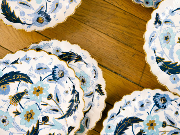 The dessert plates and dishes she bought at a Parma antiques fair