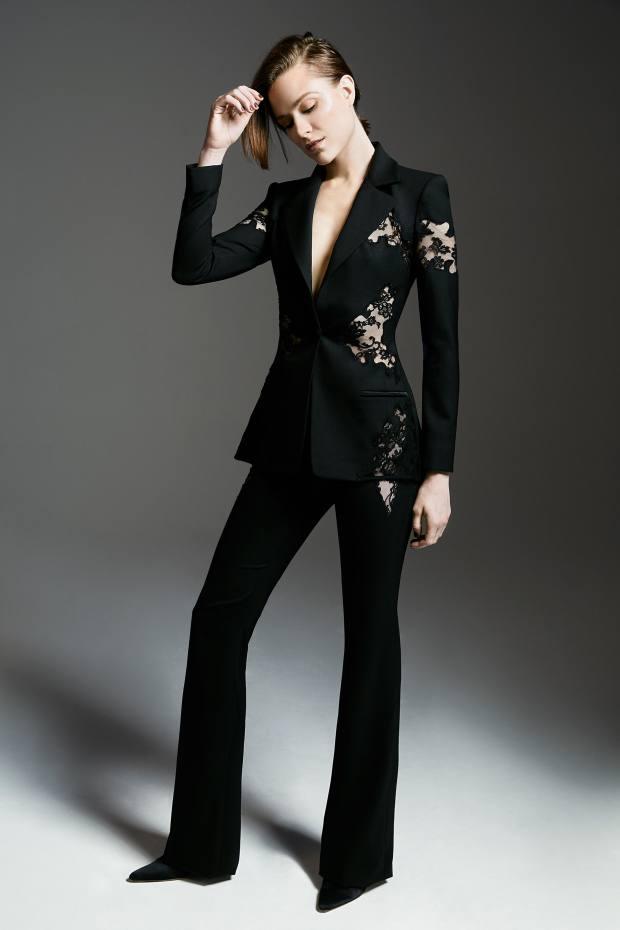 Altuzarra wool piquet Acacia jacket, £2,995, and wool piquet Vespa trousers, £1,190, as chosen by actor Evan Rachel Wood