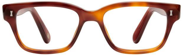 Ben Evans wears Cubitt's Belgrove frames in amber, £125 (including lenses)