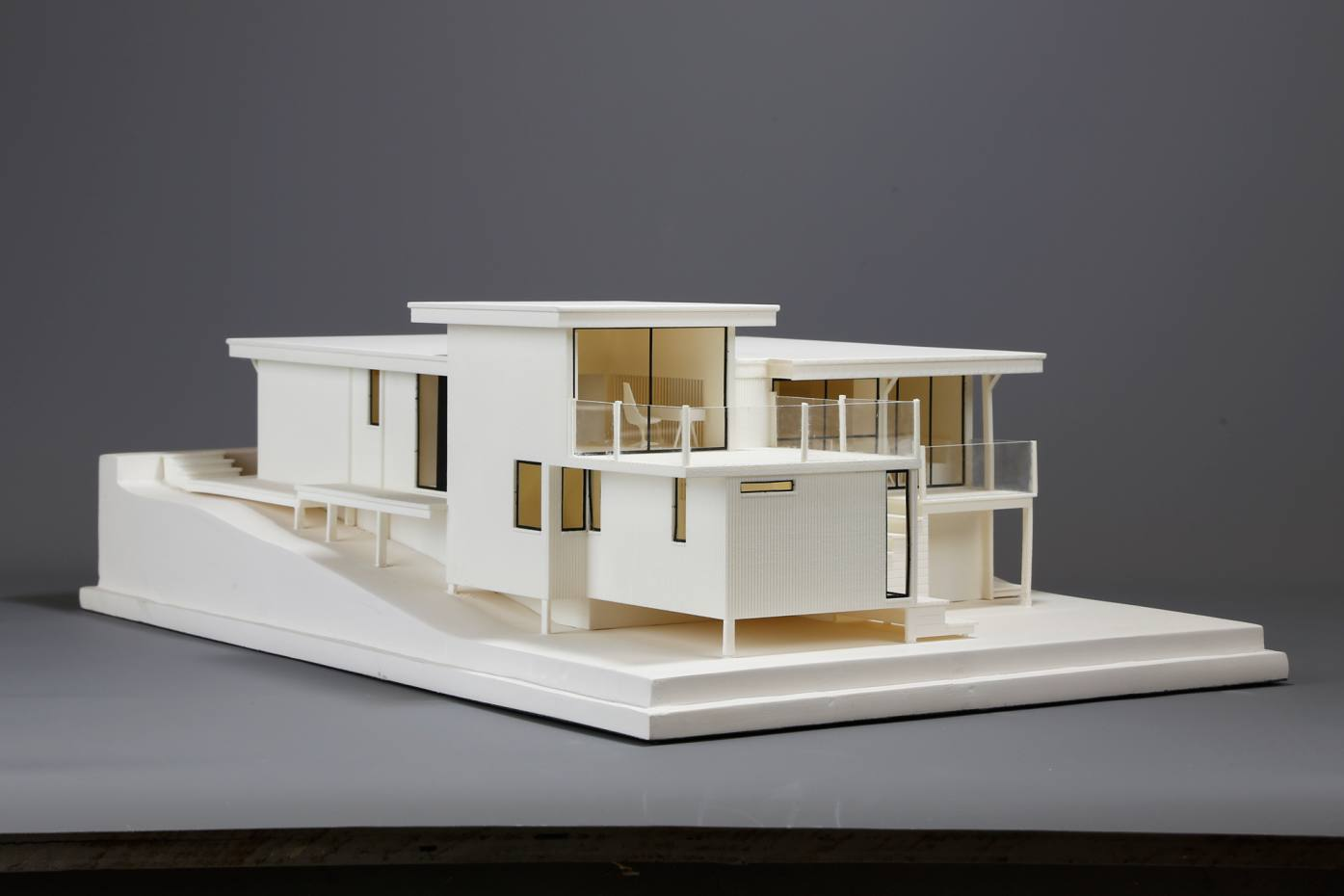 A 3d maquette model of one of walter segals south london self build houses