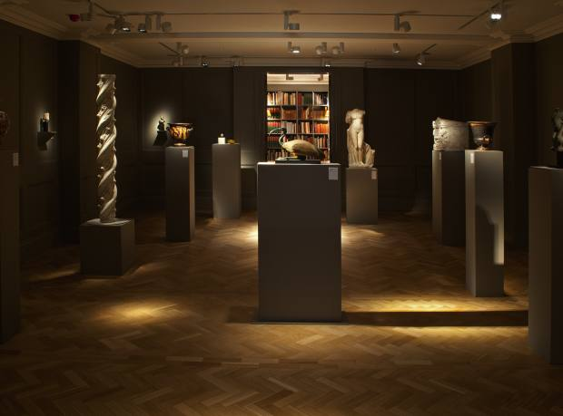 Charles Ede in Mayfair, with (centre) a c664-30 BC Egyptian wood and bronze ibis, recently sold