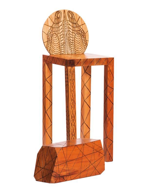 Pedro Barrail wood and gold leaf Levántate y Anda bar stool, $10,000