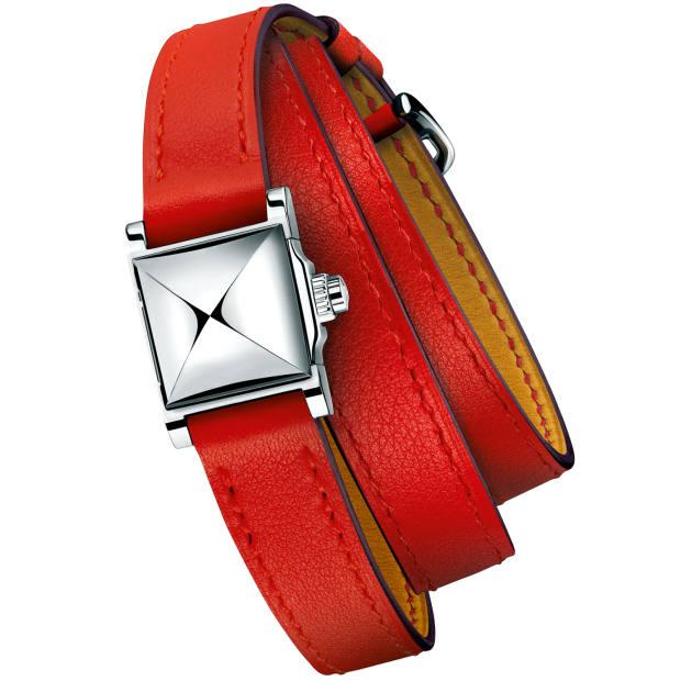 Hermès steel and silver Médor Rock watch on calfskin strap, £2,250