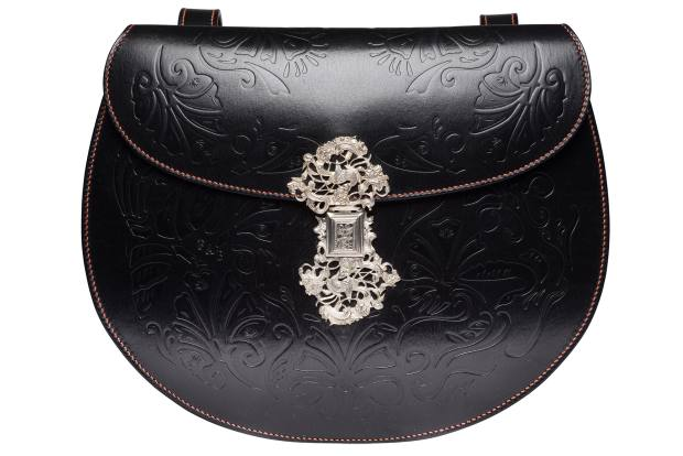 Caroline Groves leather, silver and brass Smerrel bag with goatskin lining, £8,060