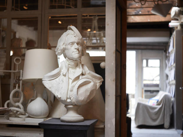 A cheeky, historic-inspired bust takes centre stage in Antonson's Brooklyn studio