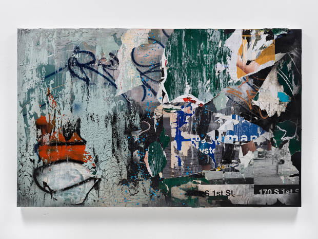 Manifestation of the Body's Revolution, 2018. Acrylic, ink, enamel, paper and plaster on canvas, 152.4cm x 243.8cm