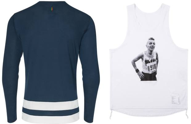 From left: Hove training top, £80. Satisfy technical-fabric Run! Punk Run! singlet, £107, with an image ofJoe Strummer of TheClash on thestarting line of the1983 LondonMarathon