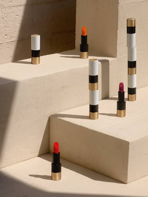 "At the launch, the lipsticks were displayed on stone plinths, underlining the foundations of this new ""adventure"""