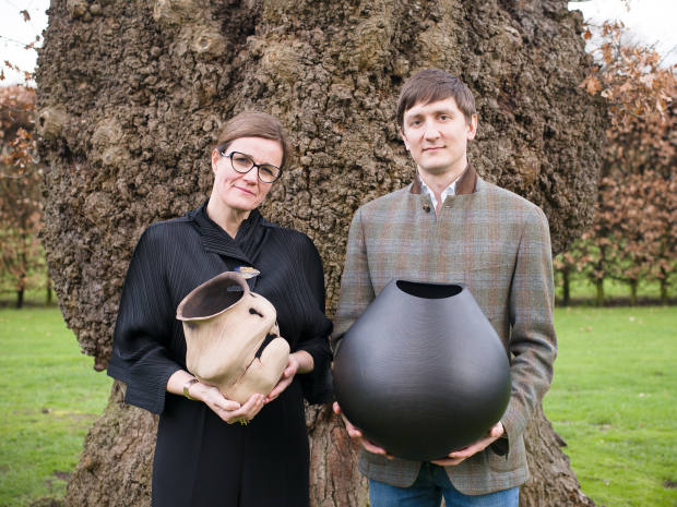 Myerscough with lacewood Scuttled Vessel by Nic Webb and Shafranik with ebonised oak Inner Rimmed Vessel 09IR1 by Liam Flynn