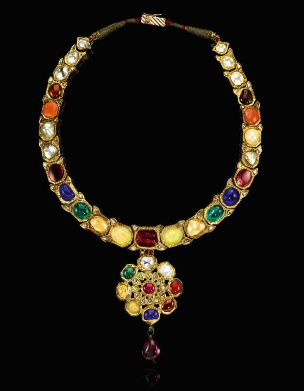 18th-century enamelled and gem-set navaratna necklace, sold for £15,000 at Sotheby's