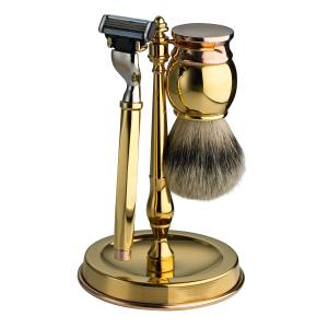 Dunhill Bicolour shaving set in copper and gold-plated stainless steel with badger hair, £750