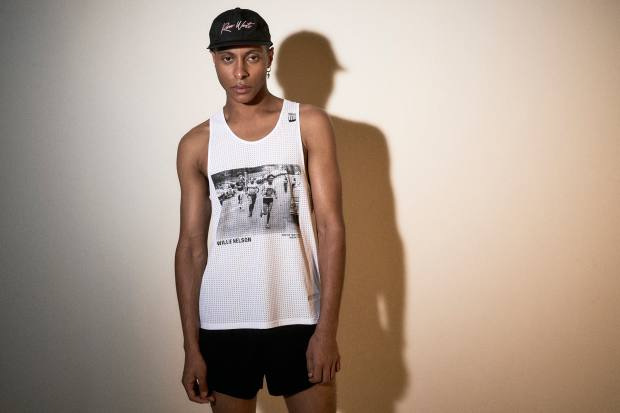 Satisfy's Run West singlet, £107, with an image of counterculture hero Willie Nelson in 1977