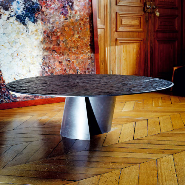 Steel and leather Black Sea table by Damien Gernay