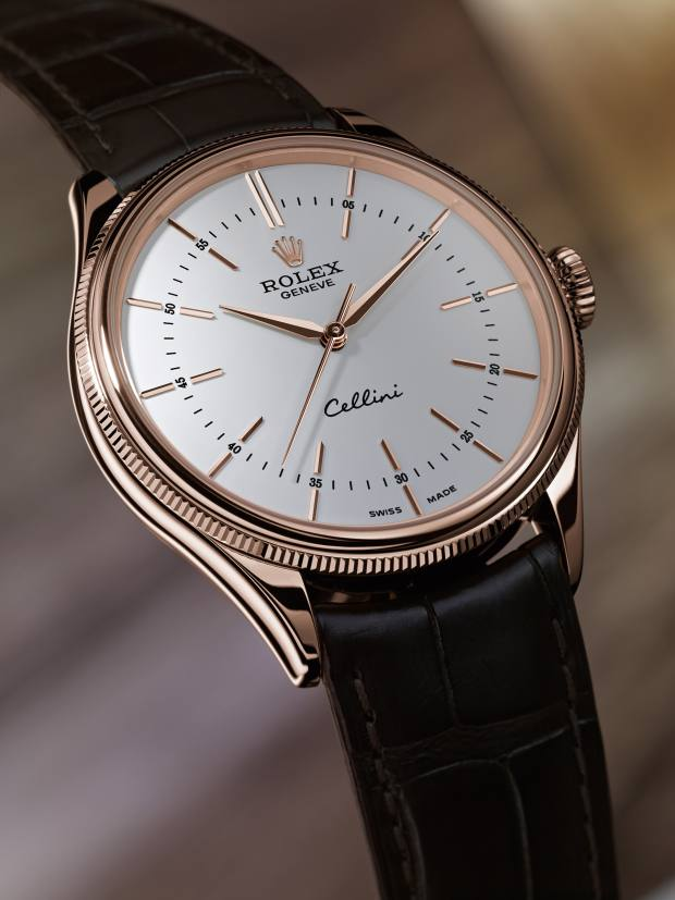 Rolex Everose rose gold Cellini Time on alligator strap, £14,250