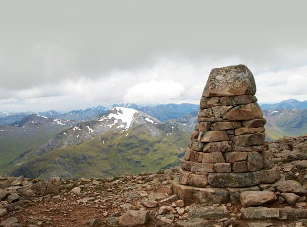 Coire Leis cairn on Ben Nevis, built to act as a navigation marker