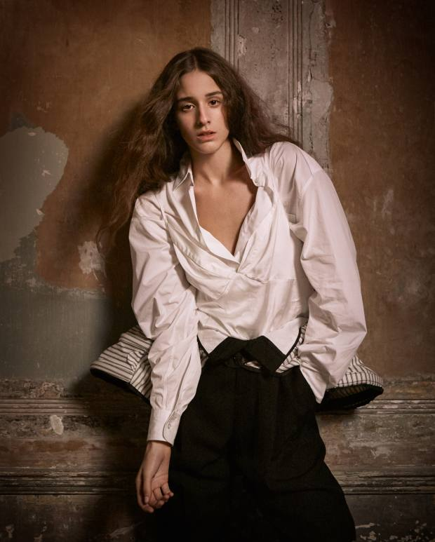 Dries Van Noten cotton top, £378, and cotton trousers, £486. Cotton pannier courtesy of National Theatre Costume Hire