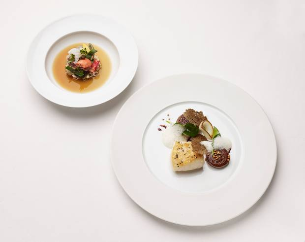 From top: dishes on the night will include Kitchin's west coast shellfish and seaweed rockpool, and Blondet's fillet of turbot with oyster and red wine sauce