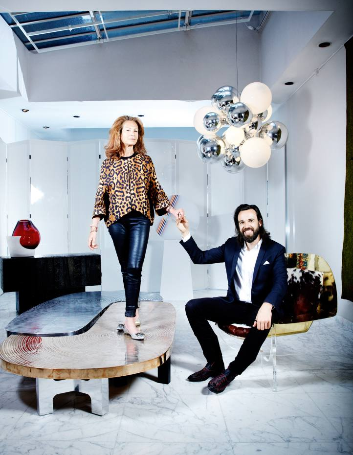 Victor Gastou (right) of Galerie Yves Gastou, and Fatine Layt, CEO of ACG Group. Artworks clockwise from left: Carrara marble and Murano glass vase and Murano glass and stainless steel ceiling light, both by Emmanuel Babled. Sculpture by Jean-Claude Farhi. Brass and Altuglas Coque chair by Philippe Hiquily. Aluminium and bronze table by Ado Chale. Slate and steel cabinet by Paul Evans