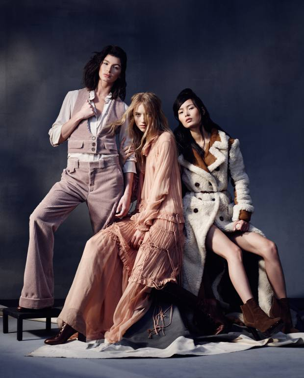 From far left: Bella wears Chloé corduroy waistcoat, £430, and matching trousers, £520, crepe de Chine shirt, £345, and leather knee high boots, £995. Emma wears Chloé silk crepe dress, £3,865, and leather knee high boots, £995. Ling wears Chloé shearling coat, £5,095, and calfskin Harper boots, £760