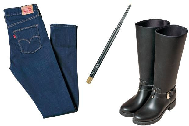 From left: her Levi's jeans, £85. Mac eyebrow pencil, £15.50. And her Mulberry biker boots