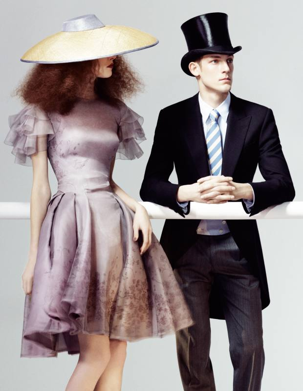 She wears Zac Posen silk dress, about £1,600. Sarah Cant straw hat with silk trim, £630. He wears Gieves & Hawkes wool morning coat, £600, linen waistcoat, £195, cotton shirt, £125, wool trousers, £200, and silk tie, £90. Hetherington Hats silk top hat, from £700