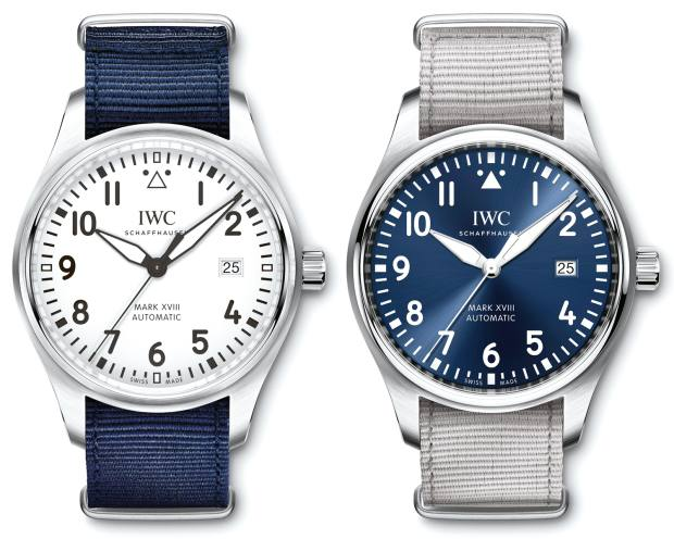 IWC stainless steel Pilot's Watch Mark XVIII with Summer strap, £3,875 each