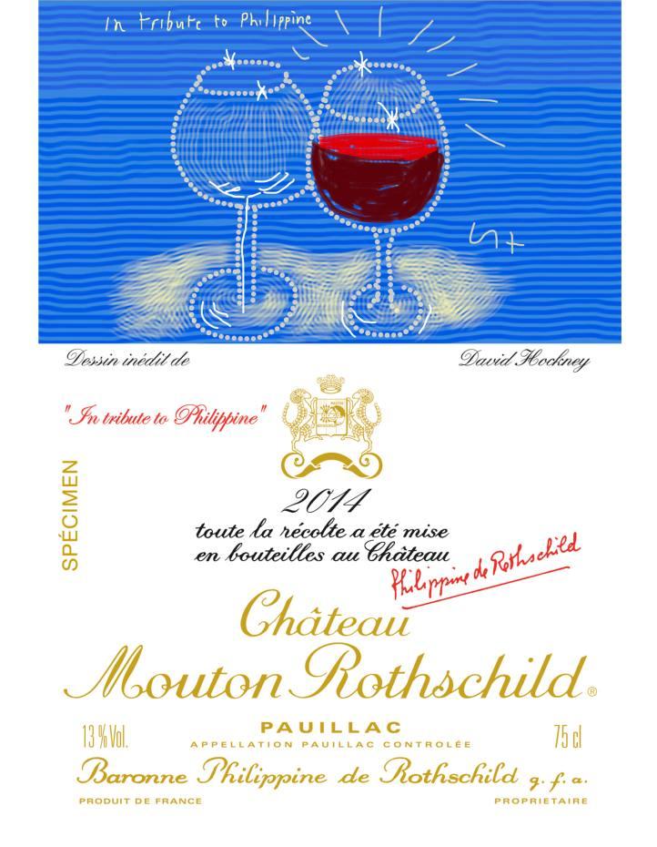 Specimen label for Château Mouton Rothschild 2014