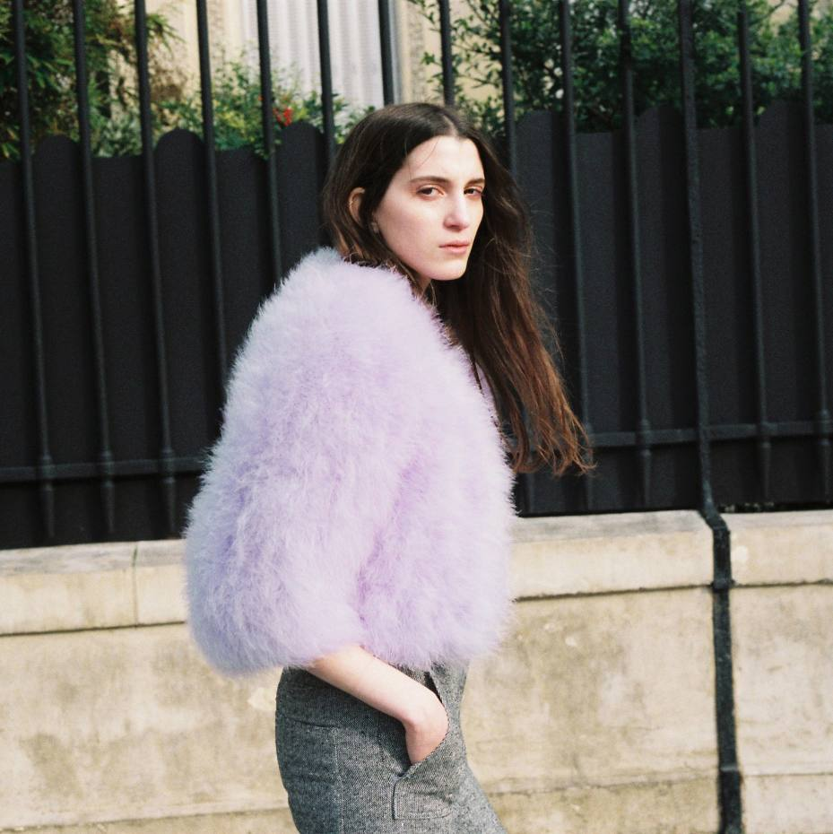 Jamais de la Vie's custom-made marabou-feather cropped jackets, from $1,800, are available in a wide array of colours