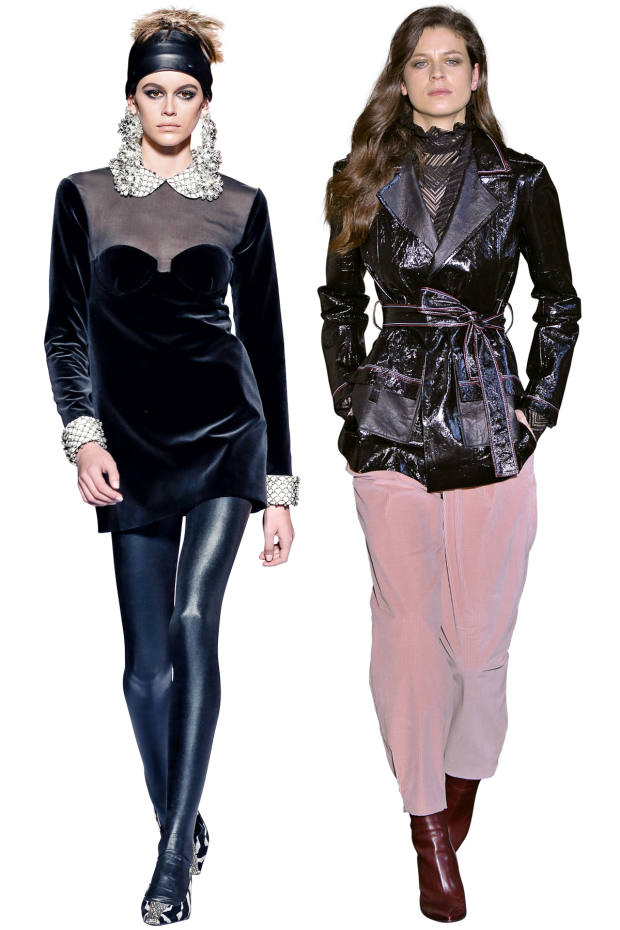 From left: Tom Ford coated-jersey leggings, £390. Roland Mouret nappa leather Mocha jacket, £2,995