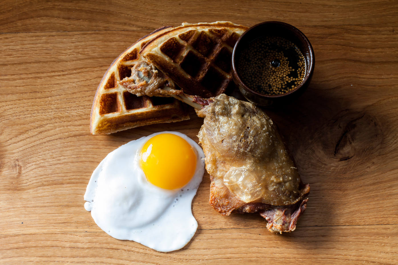 The restaurant's delicious signature dish: crispy duck and waffle