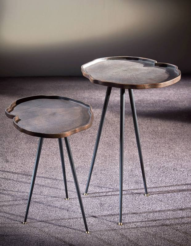 Studio La Fibule burnished bronze Tango side tables, from £425, from Urban Living Interiors